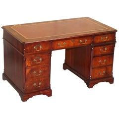 Luxury Flamed Mahogany Oxblood Leather Twin Pedestal Partner Desk Keyboard Shelf