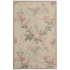 Luxury Floral Medallion Aubusson Rugs, Needlepoint Carpet Flat-Weave Rug