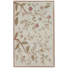 Luxury Floral Medallion Aubusson Rugs, Needlepoint Flat-Weave Rug