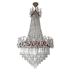 Luxury French Empire Regency Louis XV Amber Crystal Chandelier w Crystal Garland