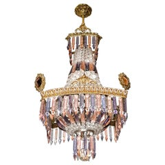 Luxury French Empire Regency Louis XV Pink & Plum Crystal Gilt Bronze Chandelier