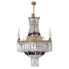 Luxury French Empire Regency Louis XV Purple Crystal Obelisks Bronze Chandelier