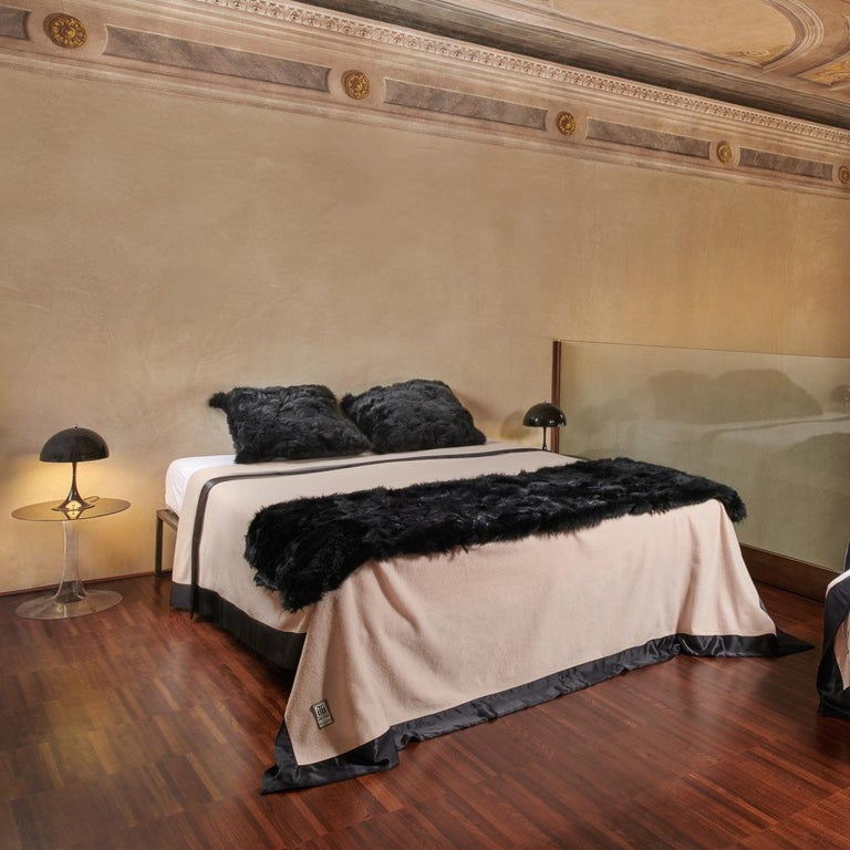 Organic Modern Luxury Fur Throw, Black, Real Toscana Sheep Fur, Throw Blanket / Bed Runner For Sale