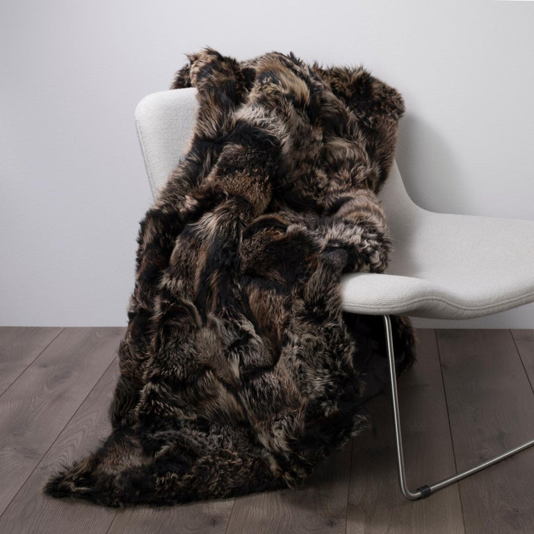 Hand-Crafted Luxury Fur Throw, Black, Real Toscana Sheep Fur, Throw Blanket / Bed Runner For Sale