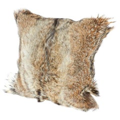 Luxury Fur Throw Pillow in Genuine Coyote and Cashmere