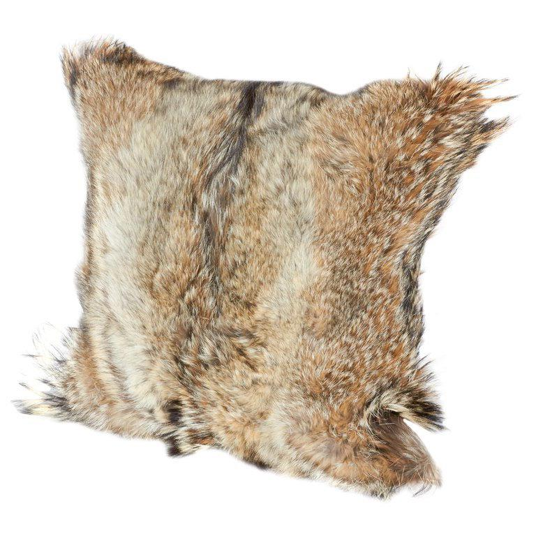Luxury Fur Throw Pillow in Genuine Coyote and Cashmere For Sale