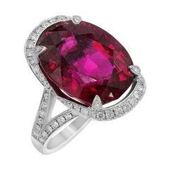 Luxury Garnet Diamond White Gold 18 Karat Ring