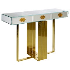"Luxury Gilt ""Filigree"" Contemporary Modern Lacquered Console Table Glass & Brass"