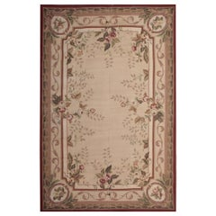 Luxury Handmade Beige Rug, Floral Patterned Rug High Quality Aubusson Style Rugs