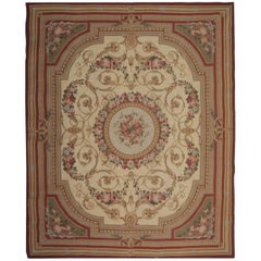 Luxury Handmade Cream Rug Floral Patterned Carpet Flat-Weave Aubusson Style Rugs