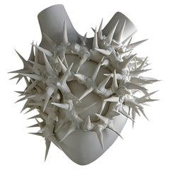 """Luxury Vase #1 """"Thorns Heart"""". Porcelain. Handmade design and crafted in Italy."""