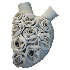 """Luxury Vase #27 """"Roses Heart"""". Porcelain. Handmade design and crafted in Italy."""