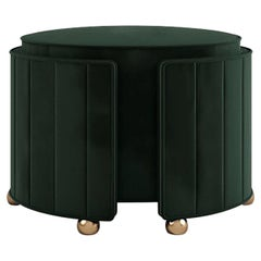 "Luxury ""Hollywood"" Contemporary Green Velvet Upholstered Ottoman, Pouf or Stool"