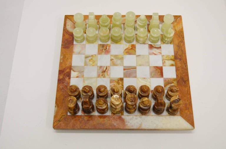 Solid stone marble. Complete chess.