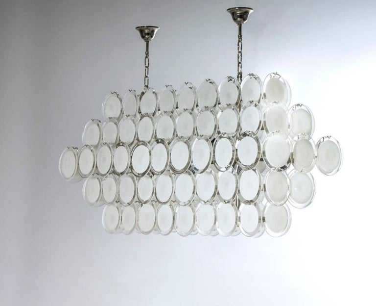 Hand-Crafted Luxury Italian Venetian, Chandelier, Blown Murano Glass, White Discs For Sale