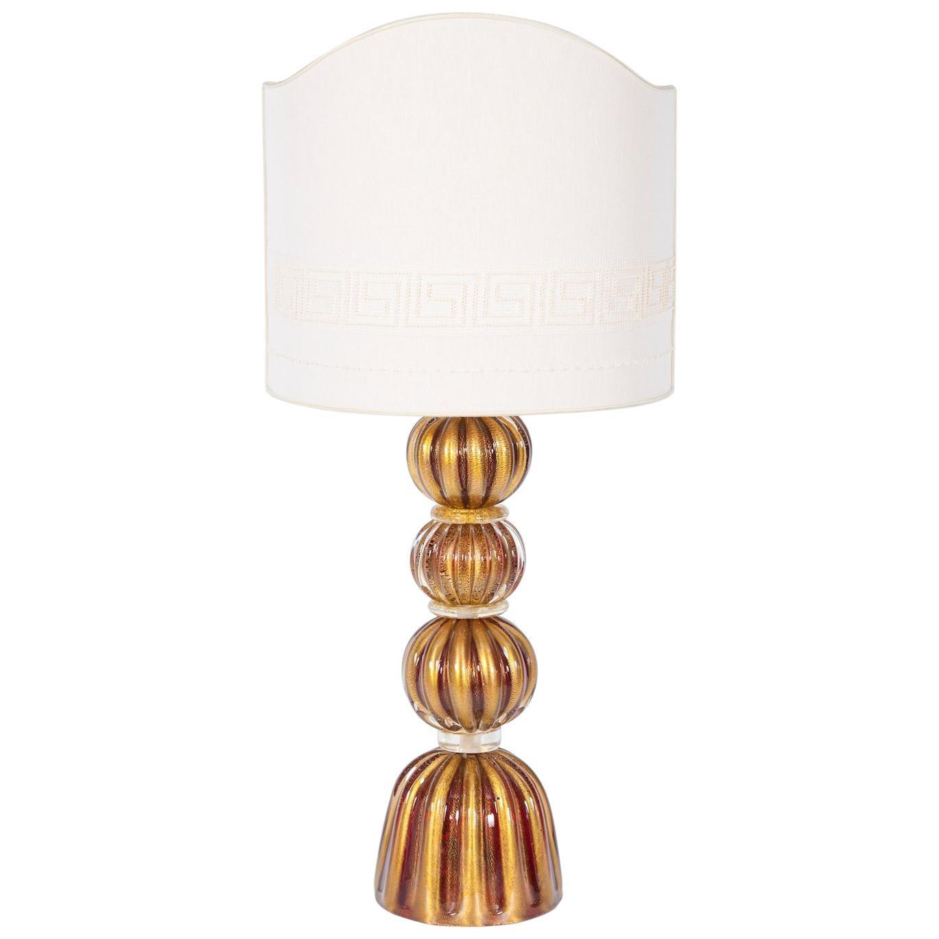 Luxury, Italian Venetian, Table Lamp, blown Murano Glass, Red and Gold 24-Karat