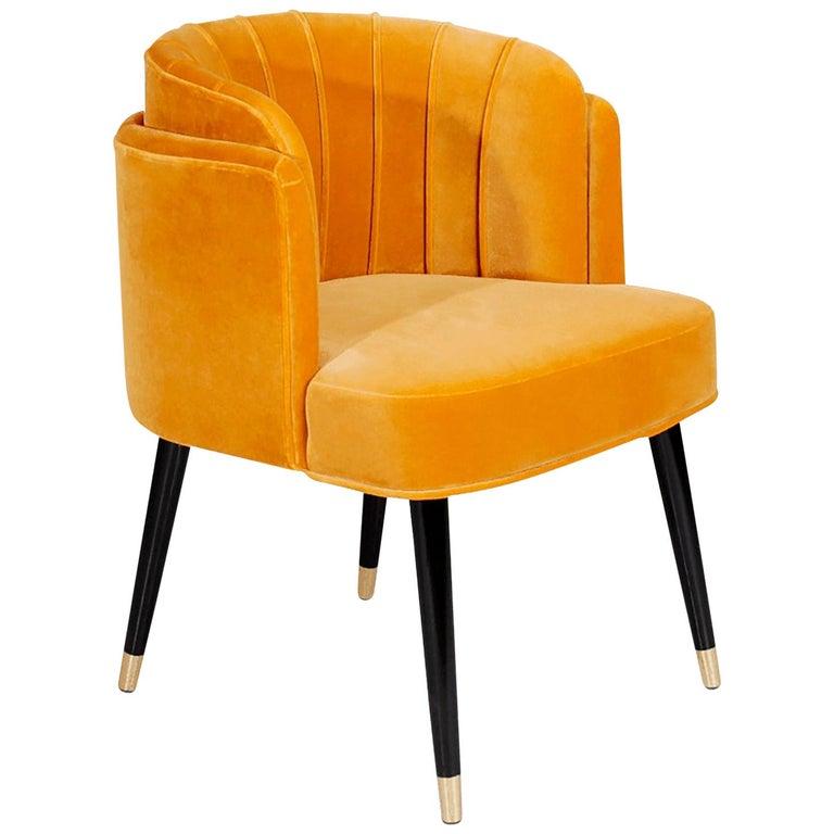 """Luxury """"Jane""""Midcentury Contemporary Velvet Upholstered Dining Living Room Chair For Sale"""
