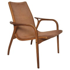 Luxury Lamino Lounge Chair Cognac Leather & Wood by Yngve Ekstrom for Swedese