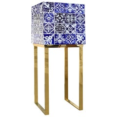 "Luxury ""Lisbon"" Contemporary Modern Cabinet with Blue Wood Tiles and Gold Legs"
