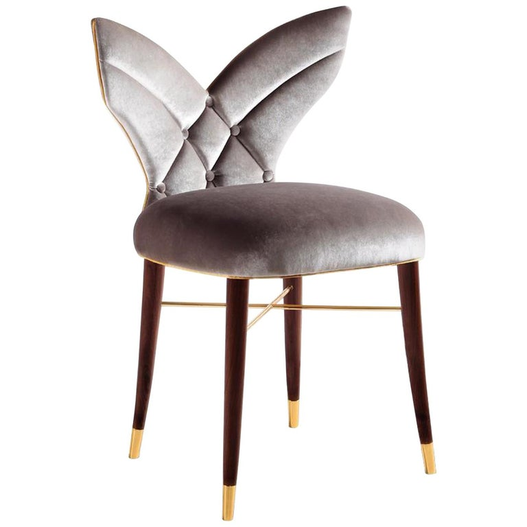 Luxury Los Angeles Silver Grey Velvet Upholstered Dining Or Living Room Chair For Sale At 1stdibs
