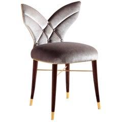 "Luxury ""Los Angeles"" Silver Grey Velvet Upholstered Dining or Living Room Chair"