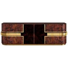 "Luxury ""Manhattan"" Contemporary Modern Art Deco Sideboard Cabinet, Walnut & Gold"