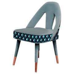 """Luxury Modern """"Barcelona"""" Blue-Grey Velvet Upholstered Dining &Living Room Chair"""