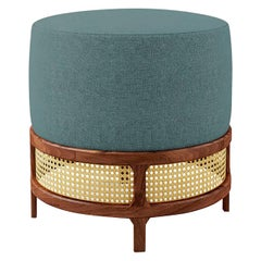 "Luxury ""New Orleans"" Rattan and Walnut, Linen Upholstered Ottoman, Pouf or Stool"