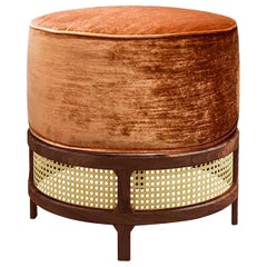 "Luxury ""New Orleans"" Rattan and Walnut Velvet Upholstered Ottoman, Pouf or Stool"
