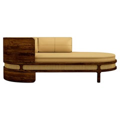Luxury New Orleans Rattan Smoked Walnut & Leather Upholstered Chaise Longue Sofa