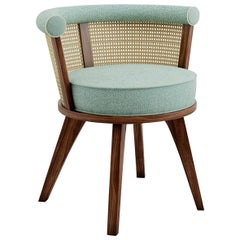 Luxury New Orleans Rattan & Walnut, Linen Upholstered Dining & Living Room Chair