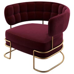 "Luxury ""New York"" Club Chair or Armchair in Brushed Brass and Velvet Upholstered"