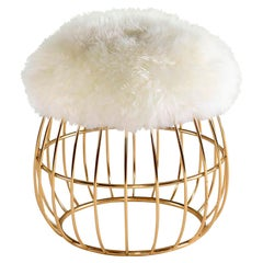 Luxury New York Contemporary Modern Sheepskin Upholstered Ottoman, Pouf or Stool