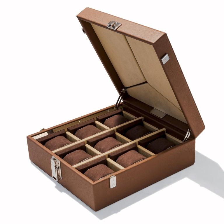 Contemporary Luxury Nine Watch Box Black or Cognac For Sale