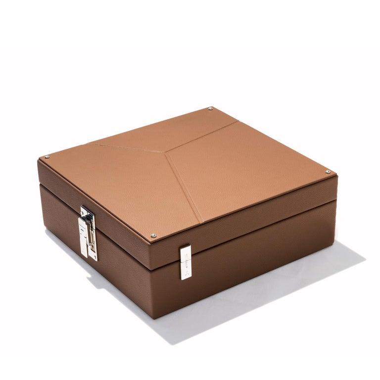 Brass Luxury Nine Watch Box Black or Cognac For Sale