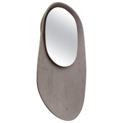 Luxury Organic Modern Gray Taupe Leather Mirror, France, 2018