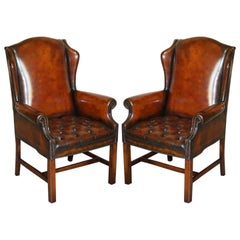 Luxury Pair of Restored Hand Dyed Brown Leather Chesterfield Wingback Armchairs
