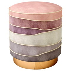 "Luxury ""Paris"" Pink Velvet Upholstered Ottoman, Pouf or Stool"