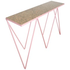 Luxury Pink Giraffe Console Table with Granite Top