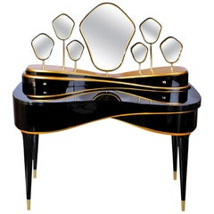 "Luxury ""Queen"" Modern Contemporary Dressing Table in Black Lacquered Wood & Gold"