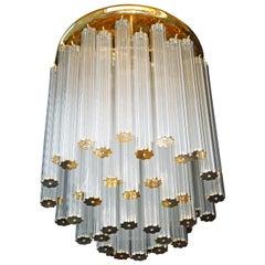 Luxury Rare Italian Modernist with 448 Glass Straw Tubes & Gilt Brass Chandelier