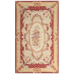 Luxury Red Rug, Floral Aubusson Rugs, Needlepoint Carpet Flat-Weave Rug