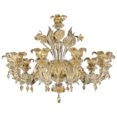Luxury Rezzonico Chandelier 10 Arms Clear and Gold Murano Glass by Multiforme