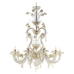 Luxury Rezzonico Chandelier 10Arms Clear, Gold, Color Murano Glass by Multiforme