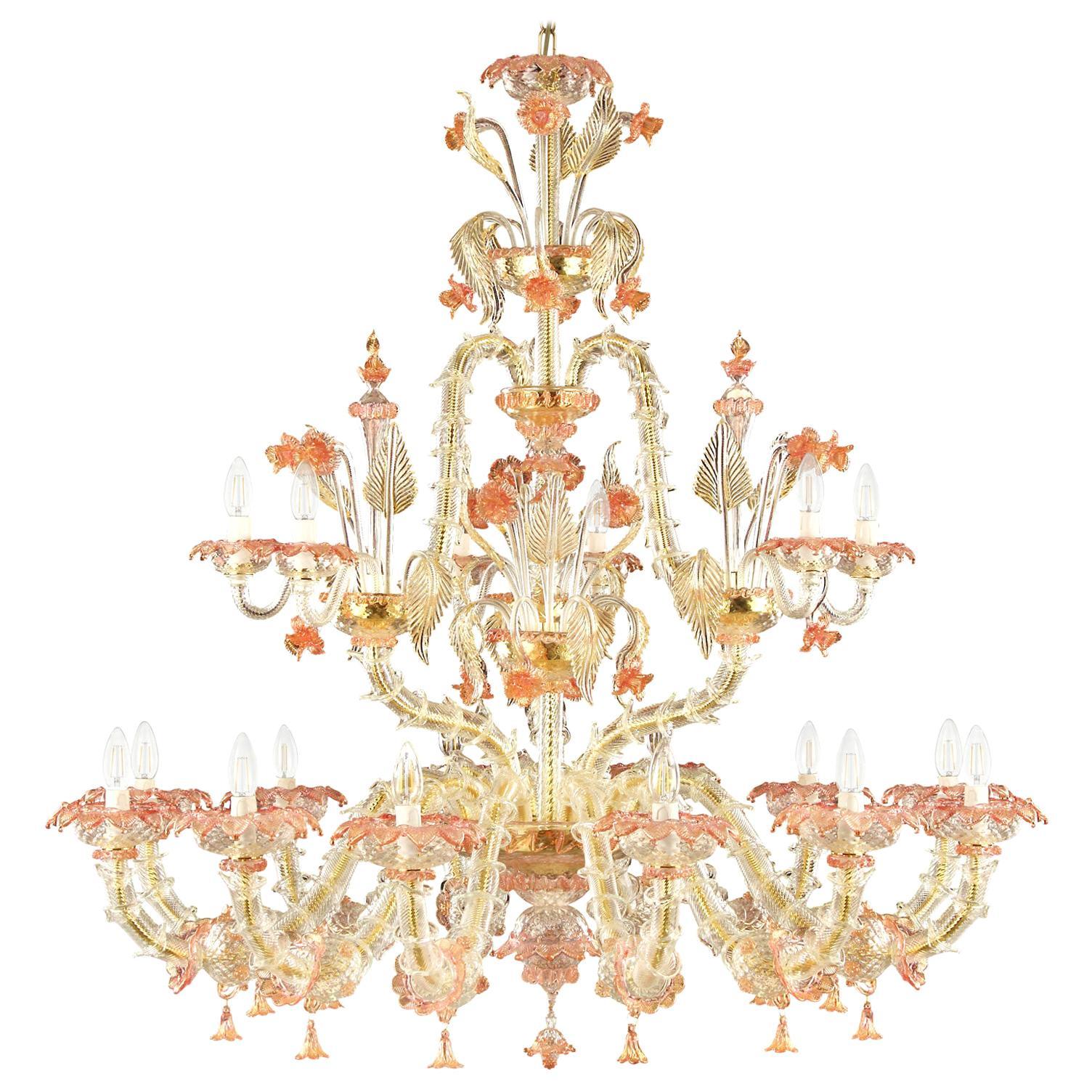 Luxury Rezzonico Chandelier 12+6 Arms Clear Multi-Color Murano Glass, Multiforme