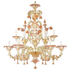 Luxury Rezzonico Chandelier 6+3 Arms Clear Multicolor Murano Glass by Multiforme