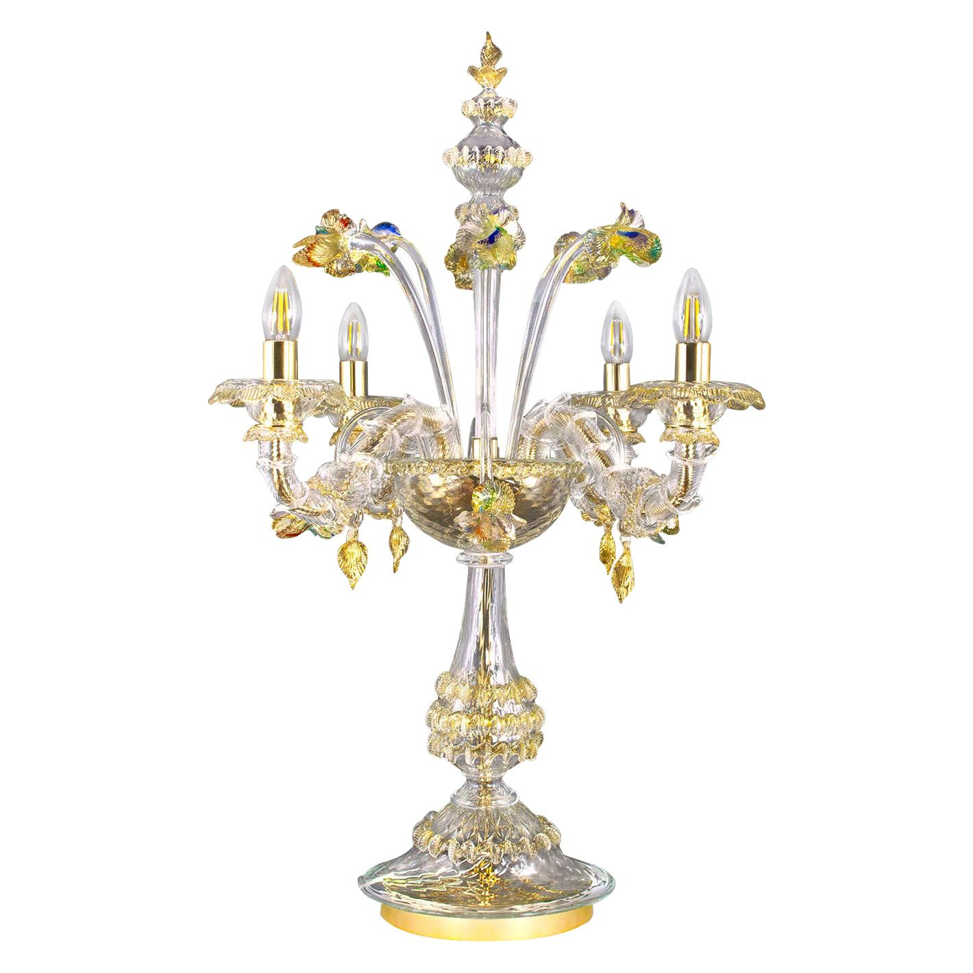 Luxury Rezzonico Flambeau Lamp 4 Arms Clear and Gold Murano Glass by Multiforme