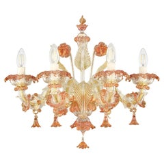 Luxury Rezzonico Sconce 4 Arms Clear Multi-Color Murano Glass by Multiforme
