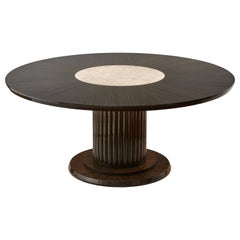 Luxury Round Dining or Conference Table with Quartz Insert, Customizable