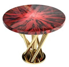 """Luxury """"Ruby"""" Contemporary Modern Side Table or Stool in Brazilian Rosewood"""